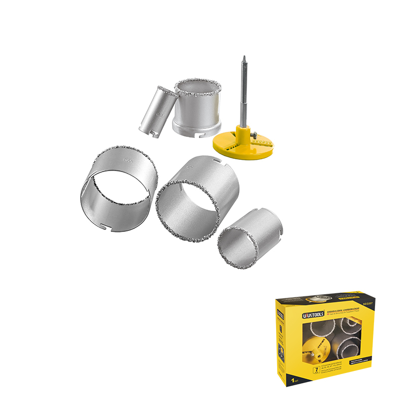 7 PIECE TUNGSTEN CARBIDE TIPPED HOLE SAW SET